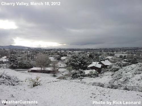 Snow accumulation in Cherry Valley