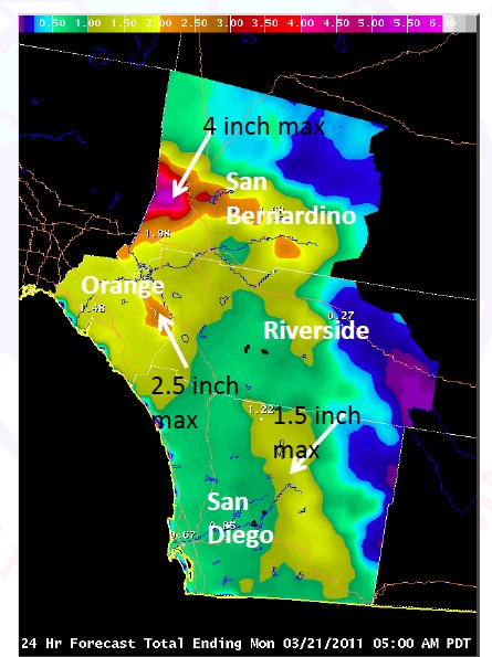 Forecast precipitation amounts