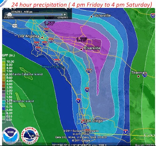 Predicted precipitation for Friday evening through Saturday afternoon