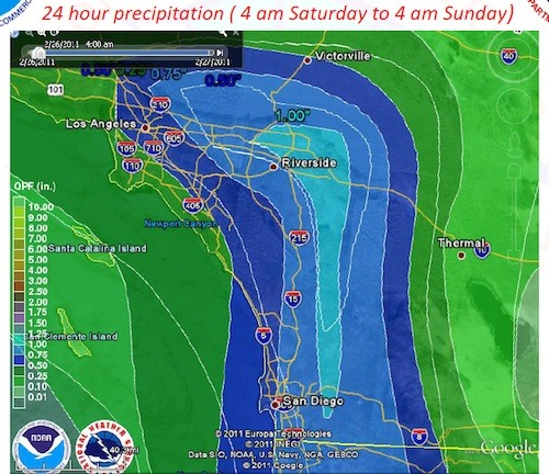 Predicted precipitation for Saturday evening through Sunday morning