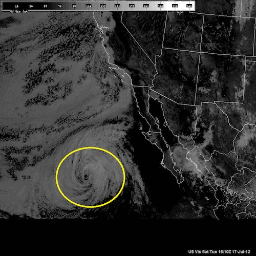 Fabio spinning of Baja California on Monday