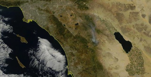 Eagle fire smoke plume on satellite