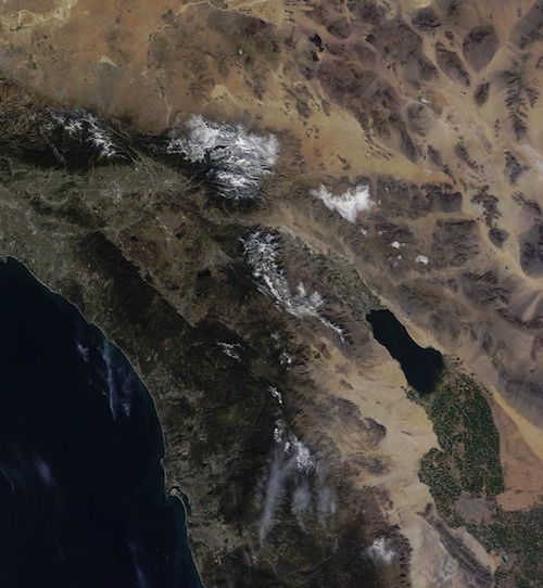 Southern California snowfall from space