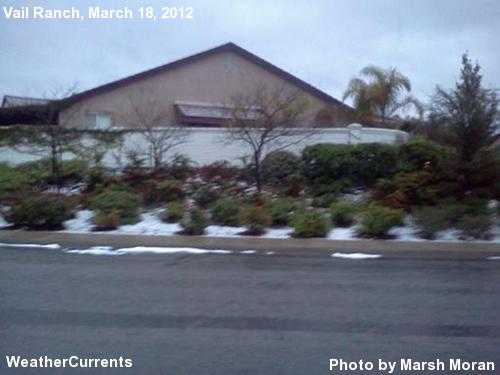 A few hours after graupel came down in South Temecula