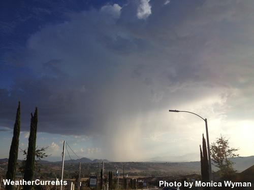 Morning thunderstorm east of Temecula